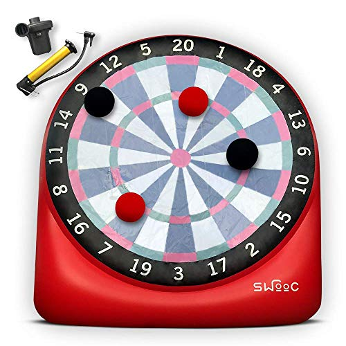SWOOC Games - Giant Kick Darts (Over 6ft Tall) with Over 15 Games Included - Giant Inflatable Outdoor Dartboard with Soccer Balls, Air Pump & Score Card - Jumbo Foot Darts Game with Big Target (Red)