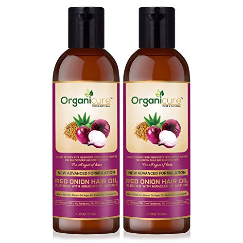 Organicure Red Onion Black Seed Hair Growth Oil for Men & Women; Hair fall, Dandruff Control & Damage Repair Nourishing Oil for...