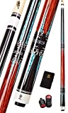 Collapsar CXT010 Pool Cue with Soft Case,Black with Cream Points and Turquoise,Wrapless Handle 58Inch Professional Pool Stick (Cocobolo Handle, 20 Ounce)