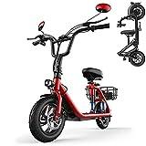 COKECO Trottinette Electrique Scooter électrique Batterie Au Lithium 48V18Ah De Petit Scooter électrique 500W, Pneus De 12 Pouces à Plat, Mini-Batterie Au Lithium pour Dames Parent-Enfant