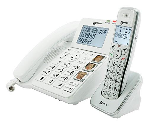 Geemarc Amplidect Combi 295 Telephone Combi avec Telephone Filaire + Combine Additionnele sans Fil Amplifie +30 DB Blanc