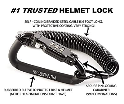 Motorcycle Helmet Lock & Cable. Sleek Black Tough Combination PIN Locking Carabiner Device Secures Your Motorbike, Bicycle or Scooter Crash Hat (and Jacket) to Your Bike. from BigPantha