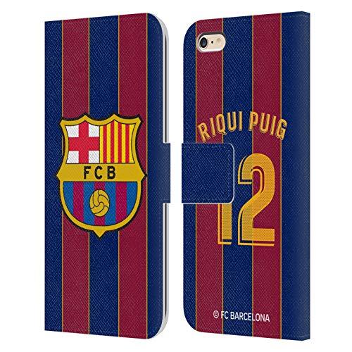 Head Case Designs Licenciado Oficialmente FC Barcelona Riqui Puig 2020/21 Players Home Kit Group 2 Carcasa de Cuero Tipo Libro Compatible con Apple iPhone 6 Plus/iPhone 6s Plus
