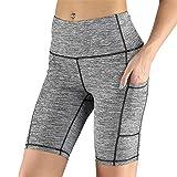 Bagong Pantalones cortos de entrenamiento para mujer, con bolsillos, cintura alta, yoga, atletismo, ciclismo, senderismo, deportes