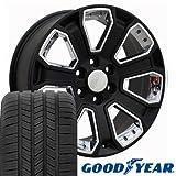 51VkCnCB+yL. SL160 - OE Wheels LLC 20 Inch Fits Chevy Silverado Tahoe GMC Sierra Yukon Cadillac Escalade CV93 Satin Black 20x8.5 Rims Hollander 5661 Goodyear LS2 Tires SET