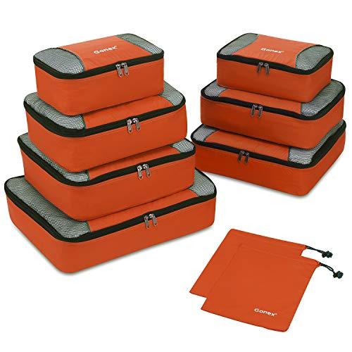 Gonex Packing Cubes 9 Set Travel Luggage Organizer with Laundry bag Orange