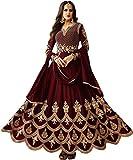 Fast Fashions Women's Semi Stitched Taffeta Silk Anarkali Gown (Maroon)
