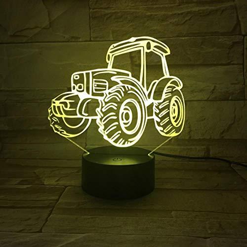 jiwenhua 3D Nachtlicht Autosportwagen Serie Bunte Riss Led Tischlampe, Traktor 1, Mit Wecker Basis