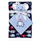 Baby Starters 2-Piece Snuggle Buddy Toy Rattle and Plush Baby Blanket Gift Set for Newborns and New Moms (Blue, Elephant, 30'x36')