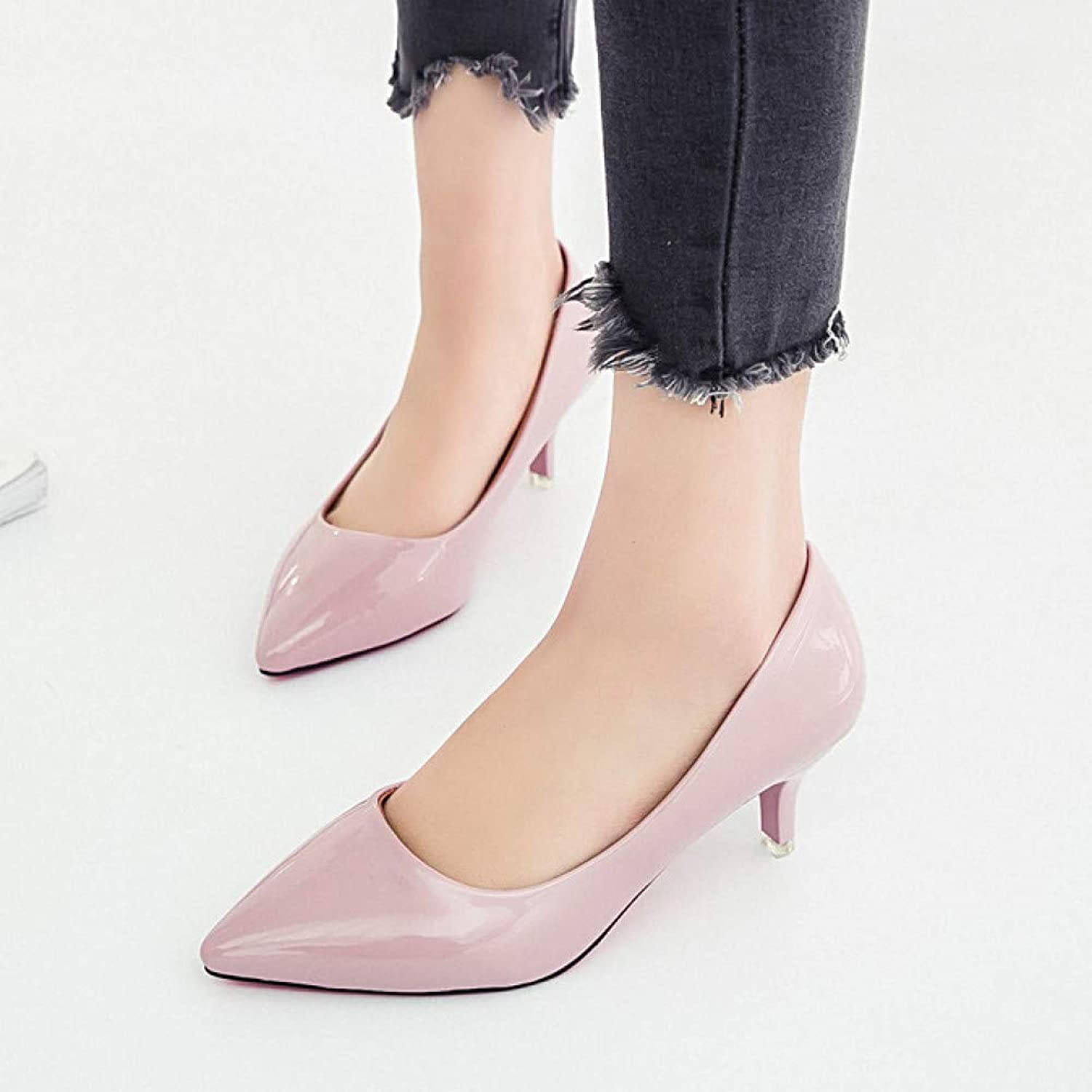 UKJSNHH igh Heels Plus Size 34-42 Women shoes Medium Heels Pumps Pointed Toe Dress shoes Woman Patent Leather Boat shoes Ladies