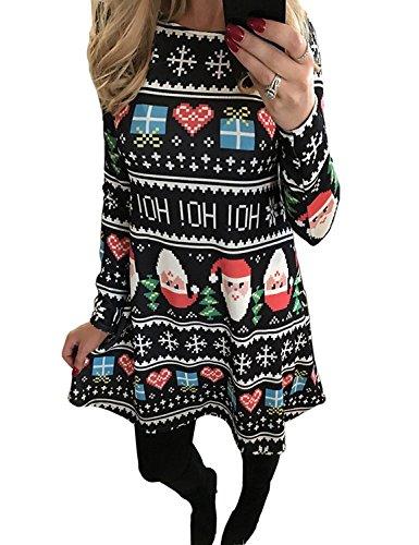 Minetom Femme Fille Mère et Fille Robe de Noël Manches Longues Imprimé Bonhomme de Neige Père Noël Snowman Tunique Mini Dress de Cocktail Soirée Style 3 FR 38(Maman)