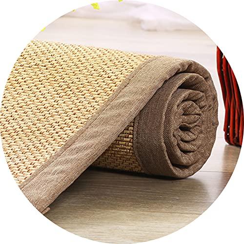LSM Alfombra Bambú Alfombras de Bambú Grandes, Alfombrilla de Fibra Natural para Gatear, Alfombrilla de Yoga para Mujer, Alfombrilla de Verano con Respaldo Antideslizante, Balcón para Sala de Estar