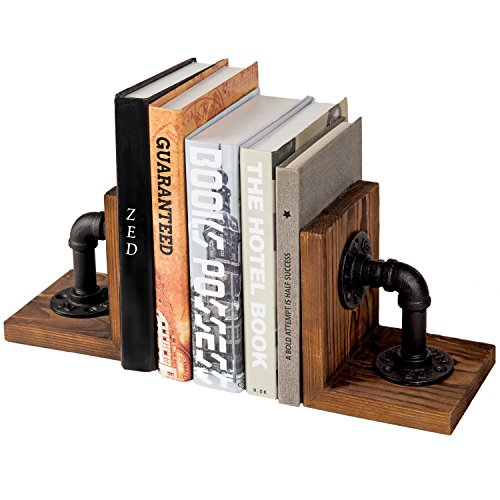 MyGift Industrial-Style Pipe & Rustic Wood Tabletop Bookends, Set of 2