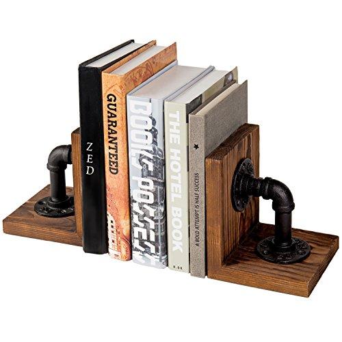MyGift Industrial-Style Rohr & Rustikal Holz Tisch Buchstützen, Set von 2