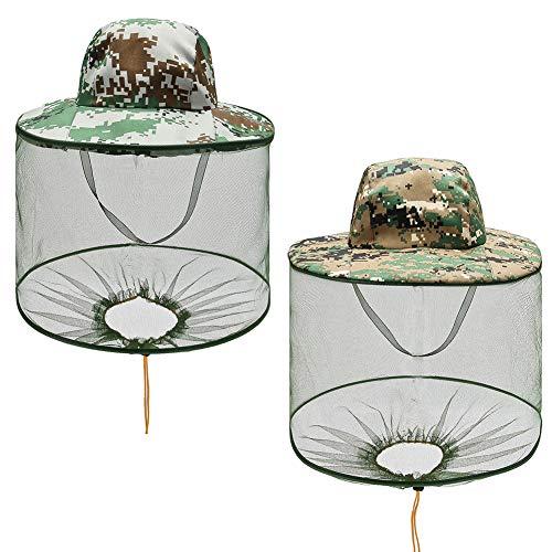 Anti-Mückenhut, NALCY Sonnenhut Fischerhut, Moskito Kopfnetz Mesh, für den Außenbereich, Tarnmuster, Anti-Mücken, Anti-Insekten, Camping, Fliegenschutz, Hut mit Netz (2PC)