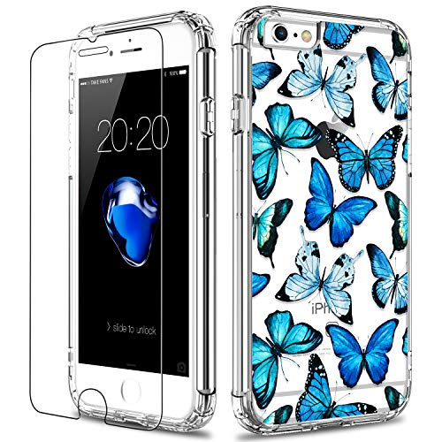 LUHOURI iPhone 6 Case,iPhone 6s Case with Screen Protector,Clear with Floral Flower for Girls Women,Slim Fit Protective Phone Case for iPhone 6 /iPhone 6s Blue Butterflies