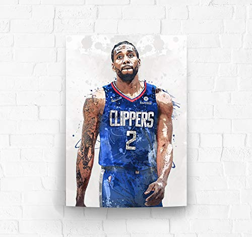 Kawhi Leonard Los Angeles Clippers Poster/Canvas Print - Basketball Artwork - Kids Room Wall Decor - Man Cave - Sports Decor - Birthday Gift Idea (Premium Poster, 24 x 36 Inches)