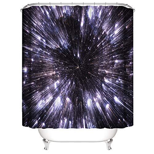 Shocur Space Cortina de ducha Cosmic Star Sky Purple Sparkling Stars Galaxy, 72 x 72 pulgadas, cortina de baño con temática de fantasía, tela de poliéster, juego de decoración de baño con 12 ganchos