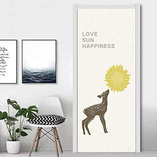 N / A Elephant Birds Door Stickers For Kid Room Living Room Self Adhesive Cartoon Animals 3D Cute Waterproof Door Poster A15 77x200cm