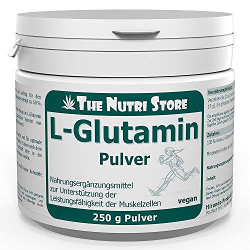 L-Glutamin 100% rein Pulver 250 g vegan - Nahrungsergänzungsmittel zur Unterstützung der Leistungsfähigkeit der Muskelzellen