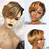 BLISSHAIR Ombre Short Bob Pixie Cut Wig, Brazilian Lace Front Curly Human Hair Wigs for Black Women 13x4 T Lace Frontal Wigs with Baby Hair(#OT1B/30)