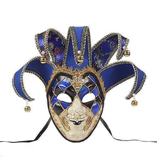Sugarwewe Full Face Jester Joker Venetian Masquerade Carnival Mask Mardi Gras Royal Blue(Crack)