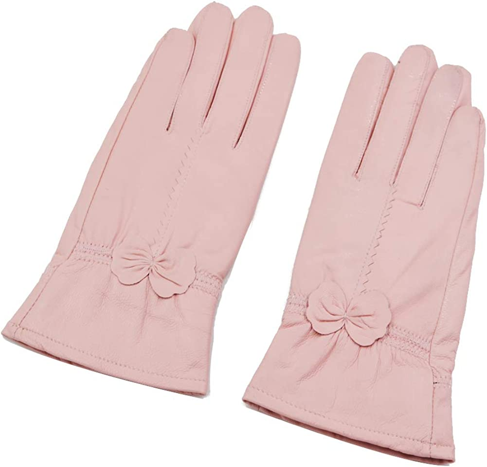 Sandy Ting Simple Sytle Women Winter Warm Lambskin Driving Leather Gloves