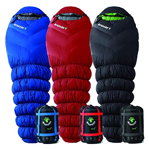4Monster Sleeping Bag Portable Down Sleeping Bag for Camping and Mountaineering, Lightweight Mummy Bag for Adults & Kids, Designed for Backpacking (Full Red, 600g)
