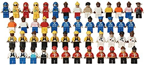 CP Toys 50 pc. Multi-ethnic Posable Figures for Standard-Tailled Interlocking Bricks by CP Toy