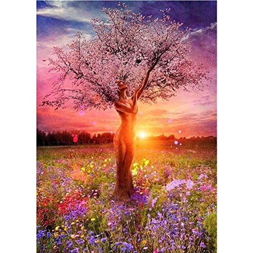 GELANYOUPIN 5D Diamond Painting by Number Kits for Adults Full Drill Mother Nature Tree of Life Embroidery Rhinestone Painting (50x70cm/19.6x27.5inches)