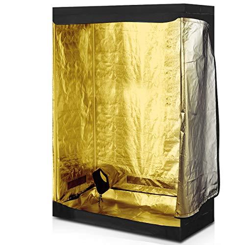 Goplus Grow Box, Tenda da Coltivazione Idroponica, Serra Indoor per Fiori, Frutta, Piante e Verdure, Nero, 4 Dimensioni da Scegliere (120x60x180 cm)
