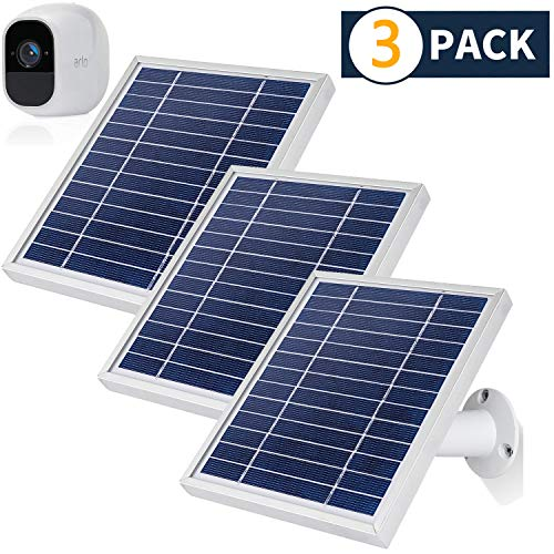 iTODOS 3 Pack Solar Panel Compatible with Arlo Pro 2, 11.8Ft Outdoor Power Charging Cable and Adjustable Mount,Not for Arlo and Arlo Pro(Silver)