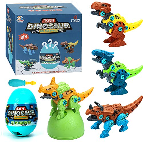 Lekebaby Dinosaur Toys for Boys, Take Apart Dinosaur DIY Construction Set with Drills and Eggs, Dinosaur Gifts Presents Dinosaurs Toys for Boys 3 4 5 6 7 Years Old and Up