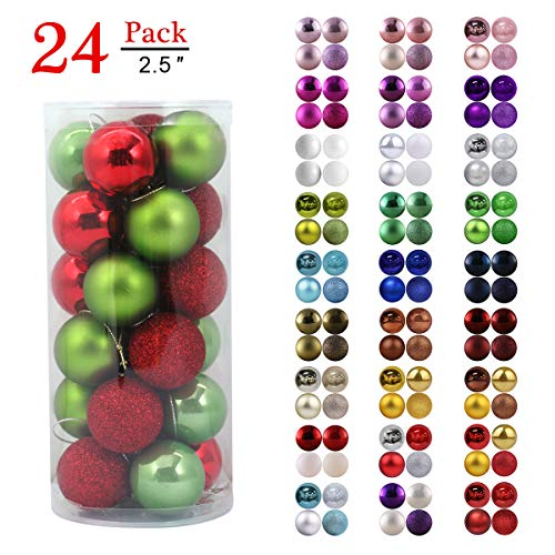 Christmas Balls Ornaments for Xmas Tree - Shatterproof Christmas Tree Decorations Large Hanging Ball Red & Green 2.5