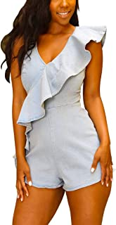 ThusFar Women's Sexy Denim Button Deep V Neck Sleeveless Solid Color Hole Short Jumpsuit Romper with Prockets