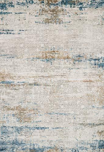 Loloi SIE-05 Sienne Collection D-Stressed Moderner Perserteppich, 71-17,8 x 244 cm Läufer, Elfenbeinfarben/Azurblau