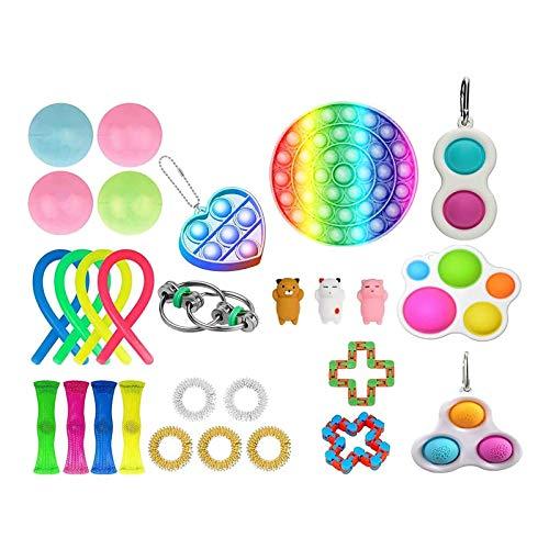 Funyplus Sensory Fidget Toys Set, Einfaches Fidget Toy Fidget Pack, Pop It Fidget Toy Regenbogen Push Pop Bubble Fidget Sensory Toy, Fidget Box Mit Stress Balls.