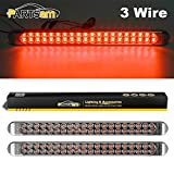 Partsam 2Pcs 17 Inch Red Led Truck Trailer Tail Light Bar 40 LED Clear Lens, Clear Red 17' Sealed LED Waterproof Stop Turn Tail Brake S/T/T Clearance Marker Identification 3RD Third Brake Light Bar