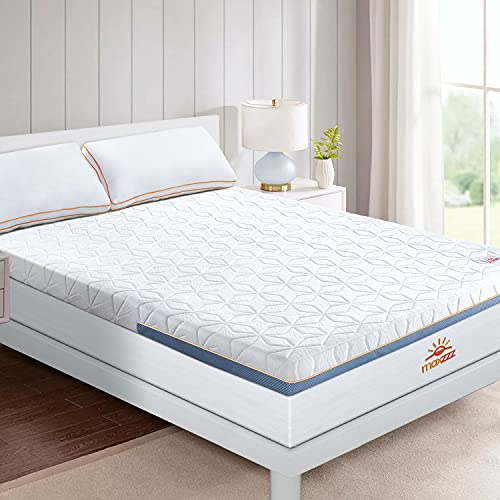 Maxzzz 4 Inch Memory Foam Mattress Topper, 7-Zone Gel Mattress Topper Queen, Ventilated Design Cooling Memory Foam Topper with Removable Soft Cover, CertiPUR-US Certified