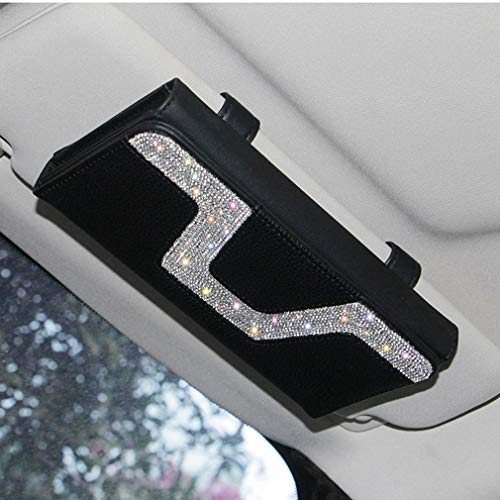 White-New Dotesy Bling Bling Car Visor Tissue Holder Leather Crystals Paper Towel Cover Case for Women