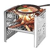 OUCRIY Barbacoa plegable de carbón vegetal de acero inoxidable, juego de barbacoa para patio, barbacoa portátil para picnic, jardín, terraza, camping, viaje