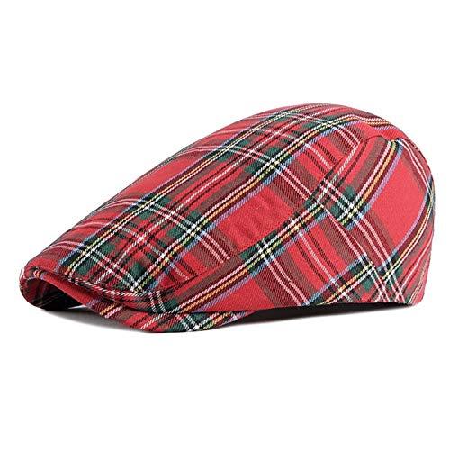Caps de periódicos Los hombres de la boina sombrero - Fine enrejado de la raya boinas Sombrero hombres de las mujeres de primavera y verano tela escocesa viseras Rojo Verde Azul Pico de Pato Gorra Pla