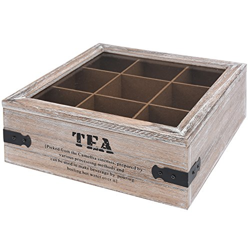Teekiste Holz Teebox 9 Fächern Glasdeckel Tee Kiste Teekasten Teebehälter