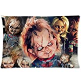 Classic Horror Film&child's Play Chucky Doll Background Printed Comfortable Cotton and Polyester Cushion Case&pillow Slip 20'x30' Two Sides