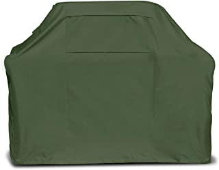 Oak Creek 58 Inch BBQ Grill Cover Made of Heavy Duty Waterproof 600D Fabric Featuring Air Vents, Click Close Straps, and Elastic Cord That Fits Weber, Char Broil, Dynaglow. in Gray and Green. (Green)