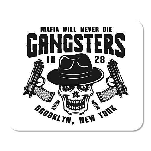 Suike Mousepad Computer Notizblock Büro Mafia Emblem Etikett mit Gangster Schädel in Fedora Hut und zwei Pistolen monochrome Heimschule Spiel Spieler Computer Arbeiter