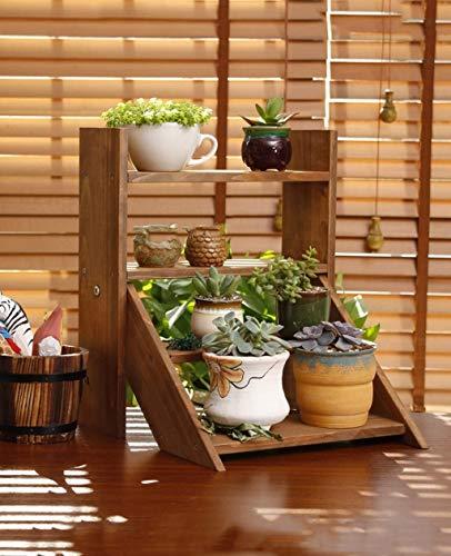 Support à plantes Décoration de jardin bureau Petite fleur Racks Bureau Windowsill Pots de fleurs Table Table Mini étagères en bois massif étagère en pot (Couleur: A), Nom Couleur: A Présentoir