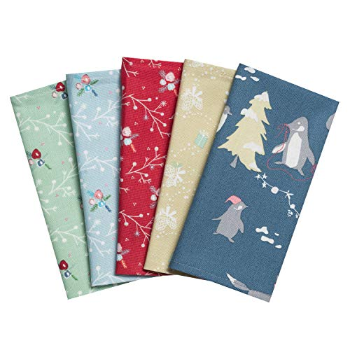 Taschentücher aus Stoff, waschbare, wiederverwendbare Öko Stoff-Taschentücher aus Baumwolle, 5 Taschentücher - Made in Germany (Winter)