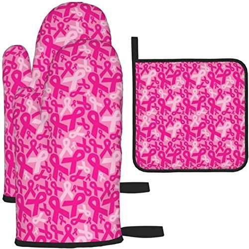 Guanti da forno contro il cancro al seno e 3 presine, fodera in morbido cotone con superficie antiscivolo, guanti da cucina resistenti al calore per microonde per cuocere al forno Cottura alla griglia