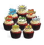 24 decoraciones comestibles para cupcakes con diseño de cómic de superhéroe, opción precortada, para colocar en pie y tumbarse (24 sin cortar)